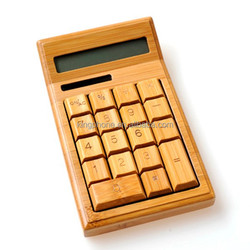 Ecofriendly Nature Bambooo Wood Solar Powered 12 Digits Calculator,solar calculator