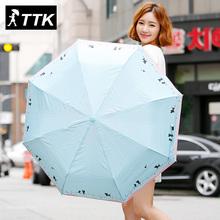 Ttk amante del gato plegado totalmente automático la plata de plástico anti UV paraguas mujer paraguas automático