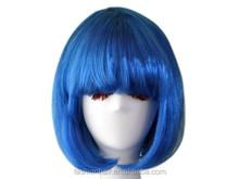 YILU Fashion short bob style kanekalon wig with bangs for fashion women or cosplay girl blue