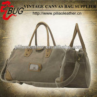 2014 Latest Vintage Olive Waxed Cotton Canvas Travel Bags