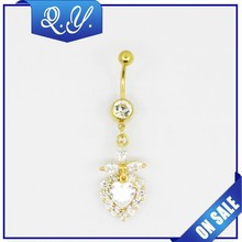 Vibrating Heart Shape Gold Plated Navel Ring Supply