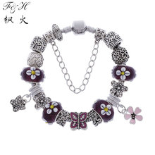 2015 hot selling Butterfly love charm bracelet series 4 colors glass bead fit DIY jewelry