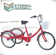 """24"""" Steel Adult electric tricycle/cheap adult tricycle Shopping Tricycle/ CE Delivery trike /GW7002-1 speed"""