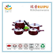 Kitchen equipment pans 2015 new arrival aluminum enamel cookware set happy baron cookware set with ceramic coating