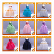 2015 Hot Selling Full-length Gown Tulle flower girl dresses for girls of 7 years old kids party wear dresses SY-135