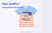 free sample! 2015 new design fashion colorful children's short sleeve t-shirt, stripe color, cotton 100% soft fabric