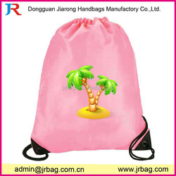 Custom pink drawstring backpack bags,new recycle custom 210d nylon drawstring backpack/cinch bag