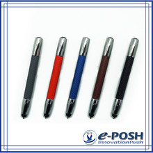 mini touch screen stylus color leather warpped metal gift ball pen set