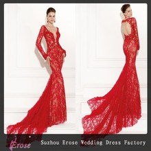 P4669 Red Wholesales Lace Long Mermaid Evening Dress
