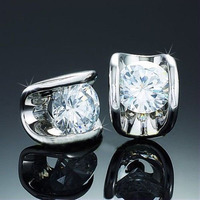 silver zircon 18k jewelry gold stud cz earrings