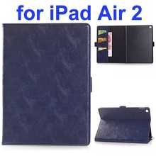 New Arrival Oil Coated PU Flip Leather Smart Case for iPad Air 2 with Stand