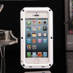 tough mobile phone case Tri protect aluminum metal case for iPhone 5S Phone cases with glass film