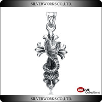 Cool cobra cross pendant Antique 925 sterling silver Men's charms Snake Totem