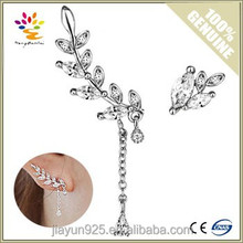 Jewelry Wholesale 2015 Fashion Design Asymmetric Leaf 925 Sterling Silver Earrings