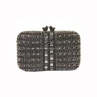 Fancy rhinestone winding black chain box clutch purse
