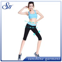 New design rose red tank top for women fitness wear wholesale fold over sexy pants wear