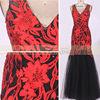 DL50458A sale black V neck sleeveless appliques styles evening dresses from dubai Mermaid Prom dress 2015