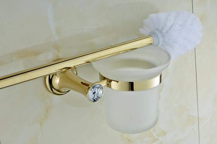 Best Gold Plating Brass And Crystal Bathroom Accessories Set Towel Rack Towel Bar Robe Hooks