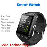 LEDO U8 waterproof wrist watch mobile phone ,IOS and android smart watch phone