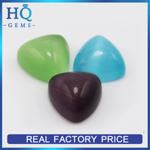 triangle shape flat bottom synthetic loose colored cat eye stone