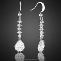 Wholesale Jewelry Pear Cut White Topaz double pearl Silver Tone Stud Earrings
