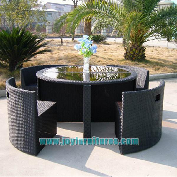 rattan wicker tub garden sets round table 4 space saving chair