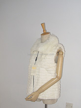 women rabbit fur vest with fox fur collar