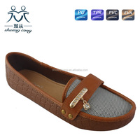 2016 ladies step-in flat PU breathable sandal and shoes for party