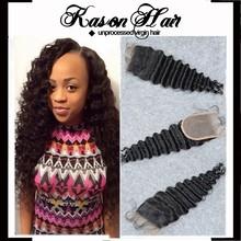 Beauty Salon Equipment Pictures Top Peruvian Remy Hair Closure Deep Wave Free Part #1B Color