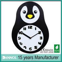 Quartz Kids MDF Wall Penguin Clock/hayvan seklinde alarmli saat