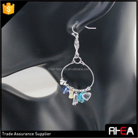 Feather Wire Drop Summer Design Charms Hoop Basket Earring