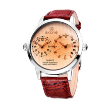 skone 9142 Japan quartz movement leather watch for men
