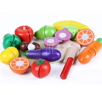 wholesale 100%green paint wood pretend toys kids pretend play fruit toys cutting vegetables