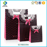 Korean Style Manufactures Wholesale Lovely Gift Paper Bag With Dot