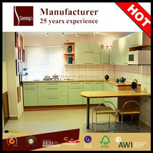Fine appearance mfc small kitchen cabinet with solid color PVC made in China