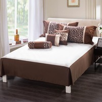Homehug 7Pc Polyester Short Brushed Comforter Set Zebra Stripe Dot Pattern Queen Size Color Coffee