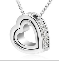 Diamond Chain Necklaces Open Heart Pendants Silver Plated Fashion Crystal Party/Wedding Jewelry For Women