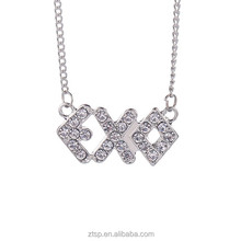 EXO superstar full crystal metal shinny necklace girls gift