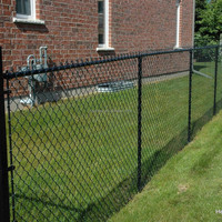 Black powder coated chain link fence