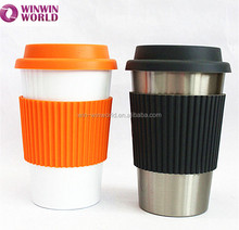 Portable Wholesale Double Wall Stainless Steel Travel Mug Silicone Sleeve Lid