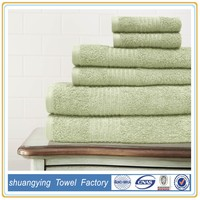 low price 6 pcs cotton thick terry towel solid towel