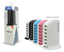 New arrival 8A big power portable 6-Ports USB Wall Charger With CE/FCC Approval for cell phone and tabs