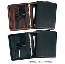 Size A3/A4/A5 leather portfolio bags File Folder Ring binder 4 rings with zipper briefcase bags organizer