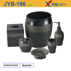 Black Polyresin Bathroom Accessory Set with Toothbrush Holder