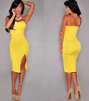 2015 Fashion Wholesale Womens Celeb Sexy backless Clubwear Strapless Bodycon Party Evening Dress