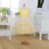 beautiful yellow latest flower girl net dresses