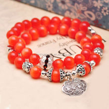 New Year Deals - muticolor gemstone vintage beads chunky stretch bracelet for girls