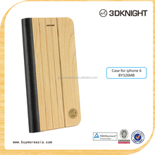Wood Pattern Leather Wallet Phone Wood Case For Iphone 6