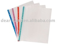 PP 11 Hole Clear Punch Sheet Protector,Colorful Stripe
