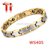 Silver and gold energy magnetic healthy tungsten Bracelet for Men